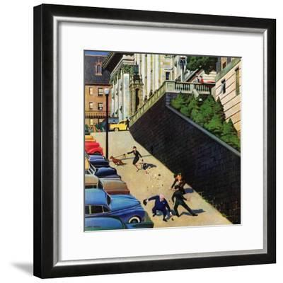 """Spilled Purse on Steep Hill"", March 26, 1955-John Falter-Framed Giclee Print"