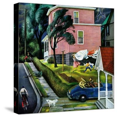 """""""Spring Storm Blowing In"""", April 26, 1952-John Falter-Stretched Canvas Print"""
