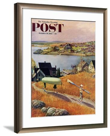 """Children with Rowboat"" Saturday Evening Post Cover, October 31, 1953-John Clymer-Framed Giclee Print"