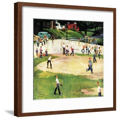"""""""Sandlot Homerun"""", July 6, 1957-John Falter-Framed Premium Giclee Print"""