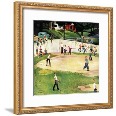 """""""Sandlot Homerun"""", July 6, 1957-John Falter-Framed Giclee Print"""