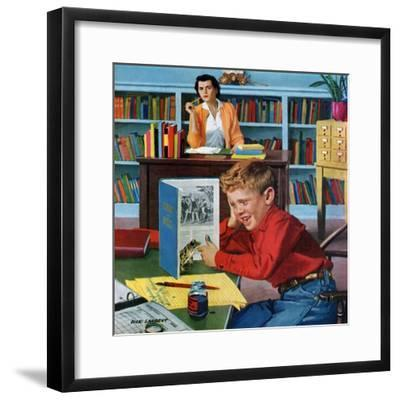 """""""Frog in the Library"""", February 25, 1956-Richard Sargent-Framed Giclee Print"""