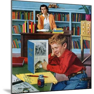 """""""Frog in the Library"""", February 25, 1956-Richard Sargent-Mounted Giclee Print"""