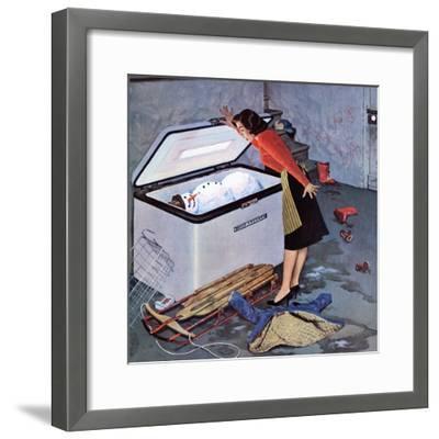 """""""Frosty in the Freezer"""", February 21, 1959-John Falter-Framed Giclee Print"""