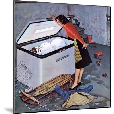 """""""Frosty in the Freezer"""", February 21, 1959-John Falter-Mounted Giclee Print"""