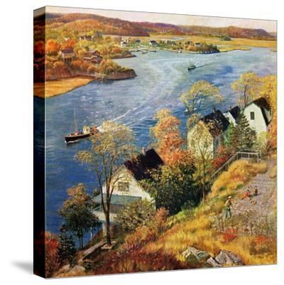 """""""Gloucester Harbor"""", November 14, 1959-John Clymer-Stretched Canvas Print"""
