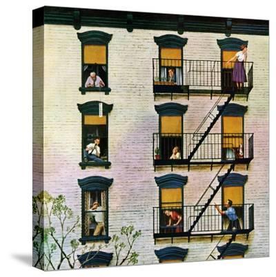 """Apartment Clarinetist"", April 19, 1958-John Falter-Stretched Canvas Print"