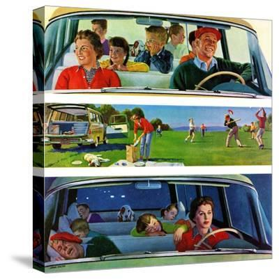 """Before, During & After Picnic"", September 5, 1959-John Falter-Stretched Canvas Print"
