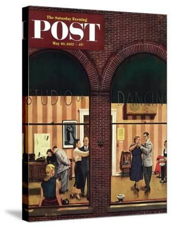 """""""Dancing Class"""" Saturday Evening Post Cover, May 10, 1952-Stevan Dohanos-Stretched Canvas Print"""