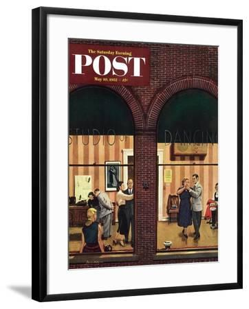 """""""Dancing Class"""" Saturday Evening Post Cover, May 10, 1952-Stevan Dohanos-Framed Giclee Print"""