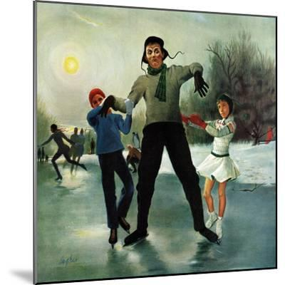 """Ice-skating Class for Dad"", February 8, 1958-George Hughes-Mounted Giclee Print"