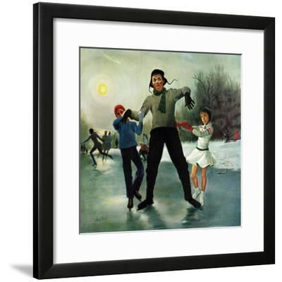 """Ice-skating Class for Dad"", February 8, 1958-George Hughes-Framed Giclee Print"