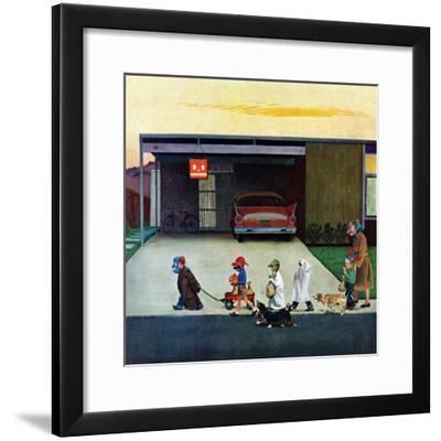 """""""Trick-Or-Treating in the Burbs"""", November 1, 1958-John Falter-Framed Premium Giclee Print"""