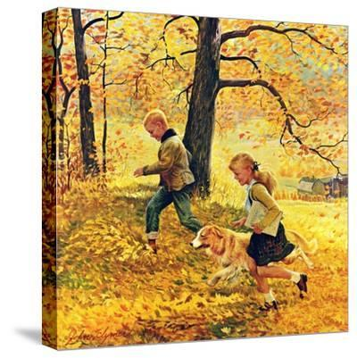 """Walking Home Through Leaves"", October 7, 1950-John Clymer-Stretched Canvas Print"