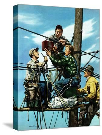 """Linemen Listen to World Series"", October 4, 1952-Stevan Dohanos-Stretched Canvas Print"