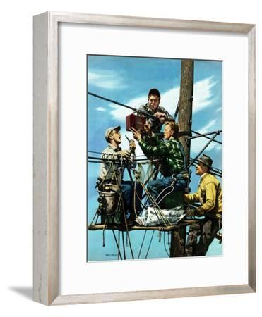 """""""Linemen Listen to World Series"""", October 4, 1952-Stevan Dohanos-Framed Premium Giclee Print"""