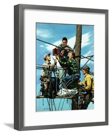 """""""Linemen Listen to World Series"""", October 4, 1952-Stevan Dohanos-Framed Giclee Print"""