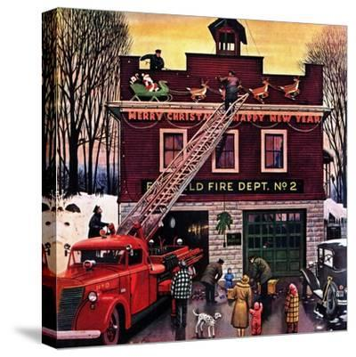 """""""Christmas at the Fire Station"""", December 16, 1950-Stevan Dohanos-Stretched Canvas Print"""