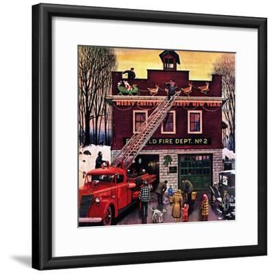 """Christmas at the Fire Station"", December 16, 1950-Stevan Dohanos-Framed Giclee Print"