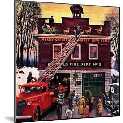 """""""Christmas at the Fire Station"""", December 16, 1950-Stevan Dohanos-Mounted Giclee Print"""