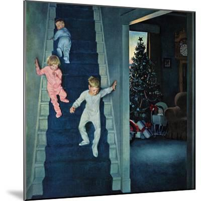 """Christmas Morning"", December 24, 1955-John Falter-Mounted Premium Giclee Print"