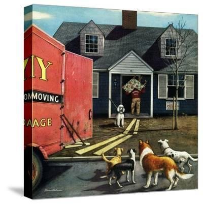 """""""New Dog in Town"""", March 21, 1953-Stevan Dohanos-Stretched Canvas Print"""