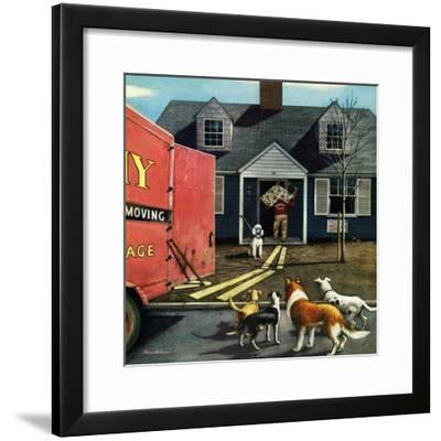 """""""New Dog in Town"""", March 21, 1953-Stevan Dohanos-Framed Giclee Print"""