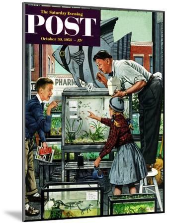 """Fish Aquarium"" Saturday Evening Post Cover, October 30, 1954-Stevan Dohanos-Mounted Giclee Print"