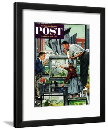 """Fish Aquarium"" Saturday Evening Post Cover, October 30, 1954-Stevan Dohanos-Framed Giclee Print"