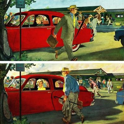 """""""Coming and Going to Work"""", June 28, 1952-Thornton Utz-Framed Giclee Print"""