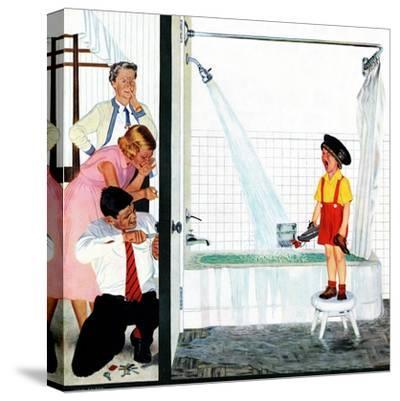 """Overflowing Tub"", December 3, 1955-John Falter-Stretched Canvas Print"