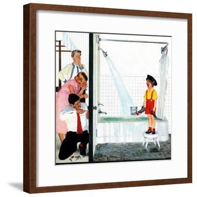 """""""Overflowing Tub"""", December 3, 1955-John Falter-Framed Premium Giclee Print"""