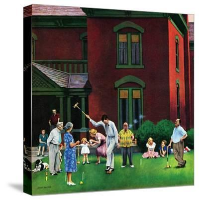 """Croquet Game"", September 29, 1951-John Falter-Stretched Canvas Print"