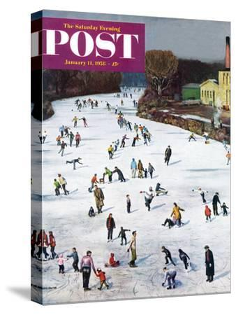 """""""Fox River Ice-Skating"""" Saturday Evening Post Cover, January 11, 1958-John Falter-Stretched Canvas Print"""