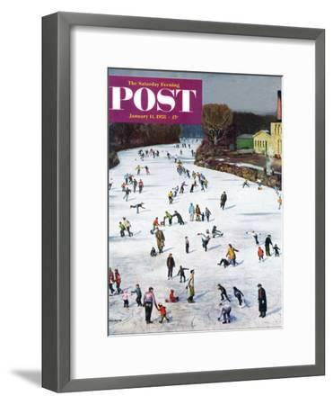 """Fox River Ice-Skating"" Saturday Evening Post Cover, January 11, 1958-John Falter-Framed Premium Giclee Print"