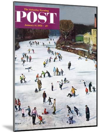 """Fox River Ice-Skating"" Saturday Evening Post Cover, January 11, 1958-John Falter-Mounted Premium Giclee Print"