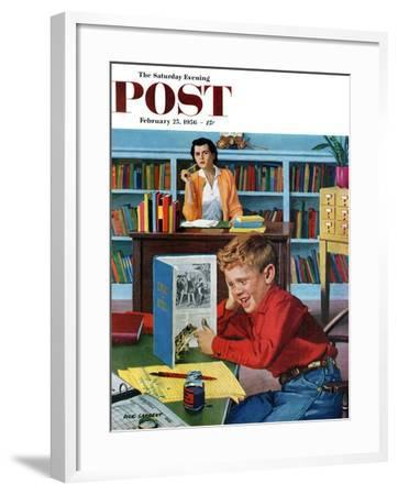 """""""Frog in the Library"""" Saturday Evening Post Cover, February 25, 1956-Richard Sargent-Framed Giclee Print"""