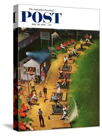 """""""Golf Driving Range"""" Saturday Evening Post Cover, July 26, 1952-John Falter-Stretched Canvas Print"""