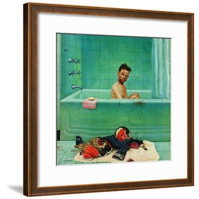 """""""Quarterback in the Tub"""", November 15, 1952-John Clymer-Framed Giclee Print"""