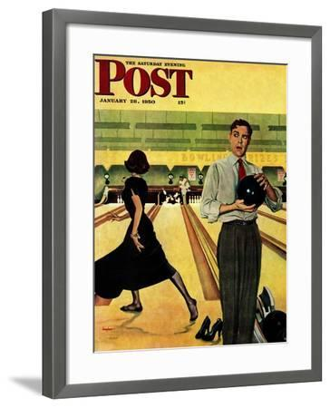 """Bowling Strike"" Saturday Evening Post Cover, January 28, 1950-George Hughes-Framed Giclee Print"