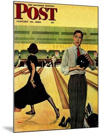 """Bowling Strike"" Saturday Evening Post Cover, January 28, 1950-George Hughes-Mounted Giclee Print"