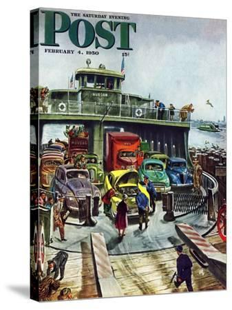 """""""Hudson Ferry"""" Saturday Evening Post Cover, February 4, 1950-Thornton Utz-Stretched Canvas Print"""