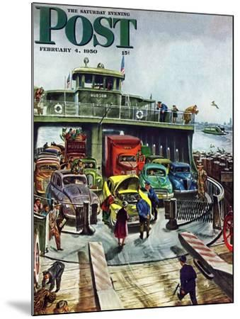 """""""Hudson Ferry"""" Saturday Evening Post Cover, February 4, 1950-Thornton Utz-Mounted Giclee Print"""