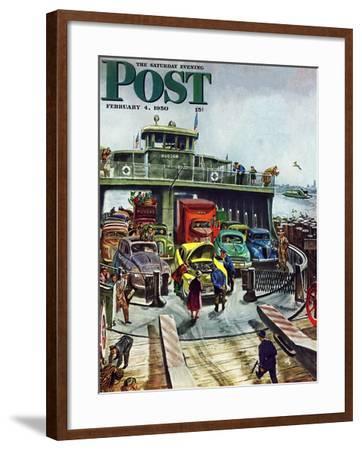 """Hudson Ferry"" Saturday Evening Post Cover, February 4, 1950-Thornton Utz-Framed Giclee Print"
