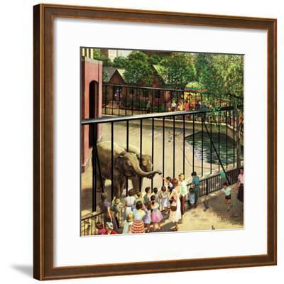 """Feeding the Elephants"", July 25, 1953-John Clymer-Framed Giclee Print"