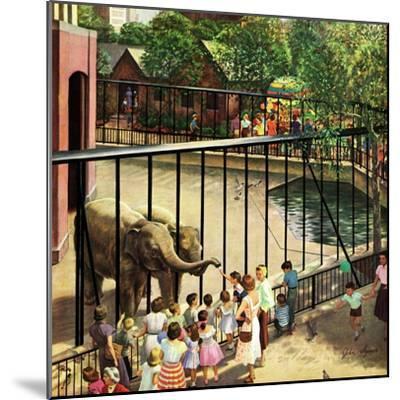 """Feeding the Elephants"", July 25, 1953-John Clymer-Mounted Giclee Print"