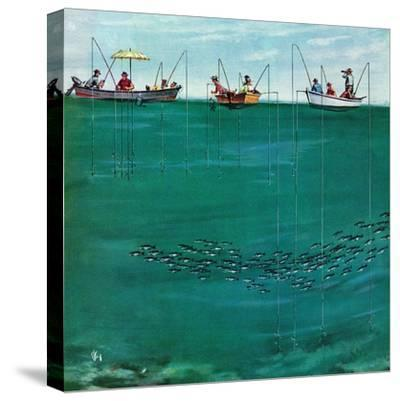 """""""School of Fish Among Lines"""", August 7, 1954-Thornton Utz-Stretched Canvas Print"""
