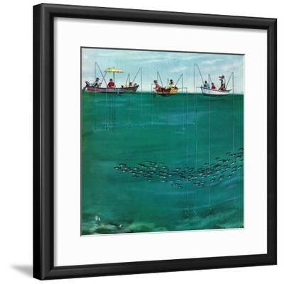 """School of Fish Among Lines"", August 7, 1954-Thornton Utz-Framed Giclee Print"