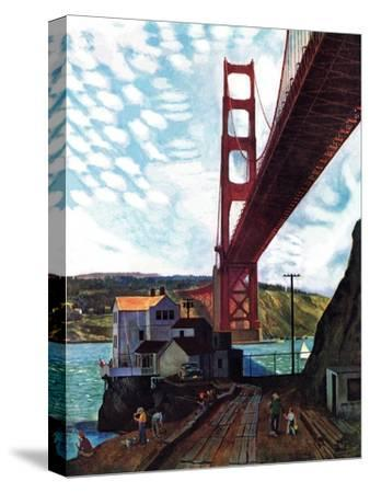 """Fishing Under the Golden Gate"", November 16, 1957-John Falter-Stretched Canvas Print"