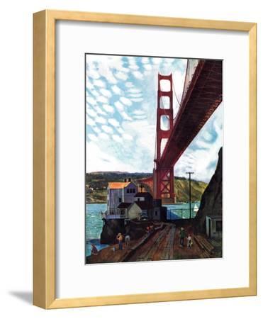 """""""Fishing Under the Golden Gate"""", November 16, 1957-John Falter-Framed Premium Giclee Print"""